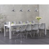 Read more about Jacobi light grey high gloss extending table with calvin chrome leg chairs