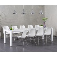Read more about Jacobi white high gloss extending table with calvin chrome leg chairs