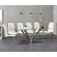Product photograph showing Ray 200cm Glass Dining Table With Calgary Chairs