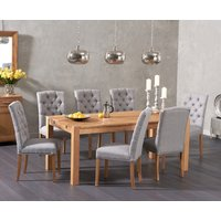Verona 150cm Solid Oak Dining Table with Candice Fabric Chai