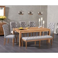 Verona 180cm Solid Oak Dining Table with Candice Fabric Chairs and Cora Grey Fabric Bench