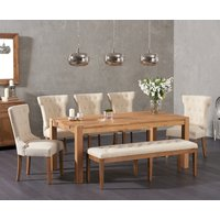 Verona 180cm Solid Oak Dining Table with Cora Fabric Chairs