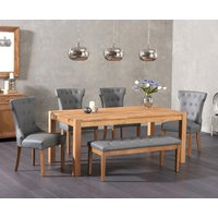 Verona 180cm Solid Oak Dining Table with Cora Grey Faux Leather Chairs and Cora Grey Faux Leather Bench