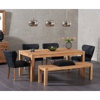 Verona 180cm Solid Oak Table with Imogen Fabric Chairs and Verona Oak Large Bench