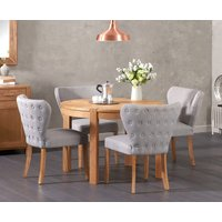 Verona 110cm Solid Oak Round Table with Imogen Fabric Chairs