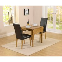 Oxford 70cm Solid Oak Extending Dining Table with Albany Bla
