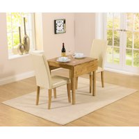 Oxford 70cm Solid Oak Extending Dining Table with Albany Cre