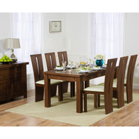 Rustique 180cm Dark Solid Oak Extending Dining Table with