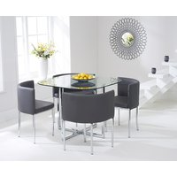 Product photograph showing Algarve Glass Stowaway Dining Table With Grey High Back Stools