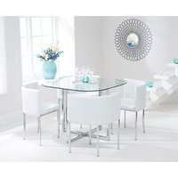 Read more about Algarve glass stowaway dining table with white high back stools