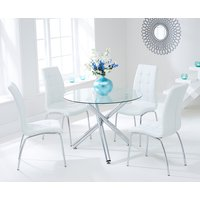 Orino 100cm Glass Dining Table with Ivory White Calgary Chai
