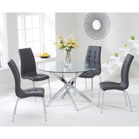 Read more about Denver 110cm glass dining table with grey calgary chairs