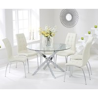 Read more about Denver 120cm glass dining table with cream calgary chairs