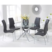 Read more about Denver 120cm glass dining table with charcoal grey calgary chairs