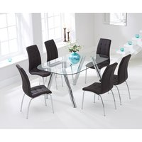 Piazzo 160cm Glass Dining Table with Charcoal Grey Calgary Chairs