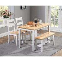 Chiltern 114cm Oak and White Dining Set with Bench and Chairs