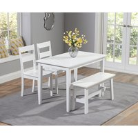 Product photograph showing Chiltern 114cm White Dining Set With Bench And Chairs
