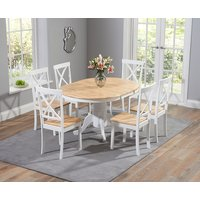 Epsom Oak and White Pedestal Extending Dining Table Set with Chairs