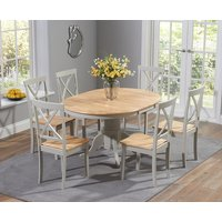 Epsom Oak and Grey Pedestal Extending Dining Set with Chairs