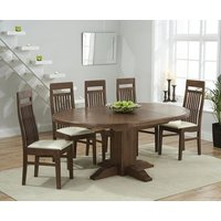 Torino Dark Solid Oak Extending Pedestal Dining Table with M