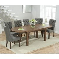 Chelsea Dark Oak Extending Dining Table with 8 Anais Fabric