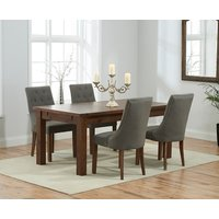 Read more about Rustique 150cm dark solid oak extending dining table with pacific fabric dark oak leg chairs