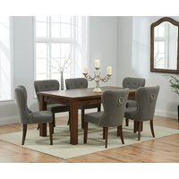 Rustique 180cm Dark Solid Oak Extending Dining Table with Gr