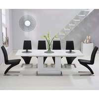 Read more about Tula 160cm white high gloss extending dining table with black hampstead z chairs