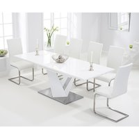 Harmony 160cm White High Gloss Extending Dining Table with M