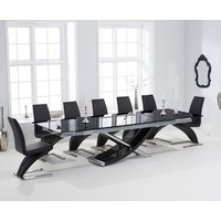 Hilton 210cm Extending Black Glass Dining Table with Hampste