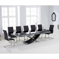 Hilton 210cm Extending Black Glass Dining Table with Malaga