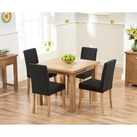 Read more about Somerset 90cm flip top oak dining table with black mia fabric chairs