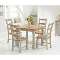 Somerset 90cm Oak and Grey Flip Top Extending Dining Table with Somerset Chairs