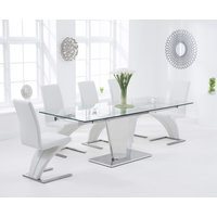 Product photograph showing Liberty 160cm Extending Glass Dining Table With Hampstead Z Chairs