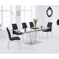Product photograph showing Liberty 160cm Extending Glass Dining Table With Cavello Chairs