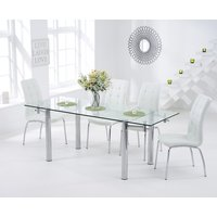 Read more about Geneva 140cm glass extending dining table with calgary chairs