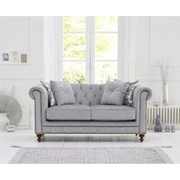 Milano Chesterfield Grey Fabric 2 Seater Sofa