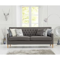 Chatsworth Chesterfield Grey Linen Fabric 3 Seater Sofa