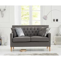 Chatsworth Chesterfield Grey Linen Fabric 2 Seater Sofa