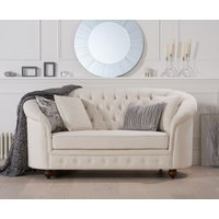 Read more about Cara chesterfield ivory linen fabric two-seater sofa