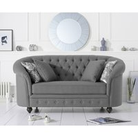 Product photograph showing Cara Chesterfield Grey Linen Fabric Two-seater Sofa