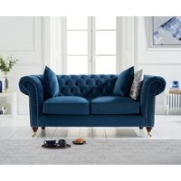 Product photograph showing Cameo Chesterfield Blue Velvet 2 Seater Sofa