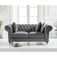 Product photograph showing Cameo Chesterfield Grey Velvet 2 Seater Sofa