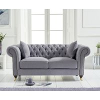 Product photograph showing Cameo Chesterfield Grey Linen 2 Seater Sofa