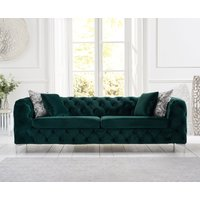 Product photograph showing Ariel Green Plush 3 Seater Sofa
