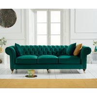 Cameo Chesterfield Green Velvet 3 Seater Sofa