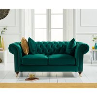 Product photograph showing Cameo Chesterfield Green Velvet 2 Seater Sofa