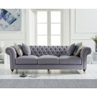 Product photograph showing Cameo Chesterfield Grey Linen 3 Seater Sofa