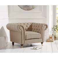 Read more about Cameo chesterfield beige linen armchair