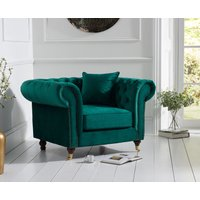 Product photograph showing Cameo Chesterfield Green Velvet Armchair